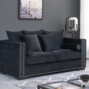 Madrid Black Velvet Sofa