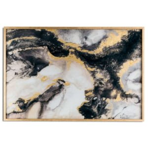 This feature marble effect wall art in black and gold glass is contained within a gold frame. Marble has been a popular tree and used effectively when styling a room