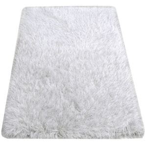 White Shaggy Rug with Silver Thread
