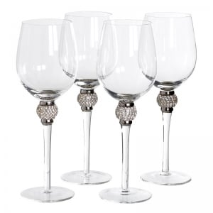 Silver Diamanté White Wine Glasses