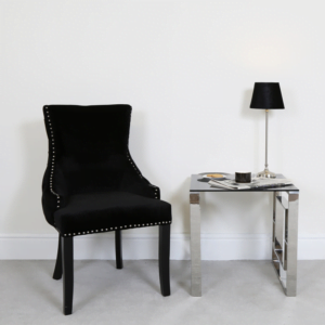 Black Tufted Back Chair