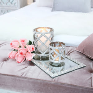 Small Clear Glass and Glitz Candle Holder