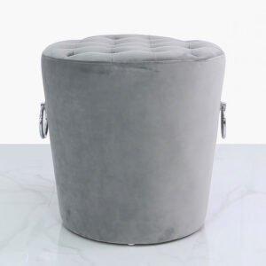 Grey Buttons & Rings Velvet Stool