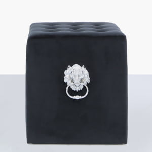 Black Velvet Stool with Lion Rings