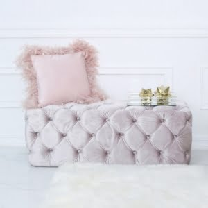 Soft Pink Buttoned Bench
