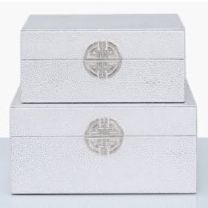 Silver Faux Leather Boxes