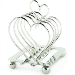A heart shaped toast rack to place slices of toast on