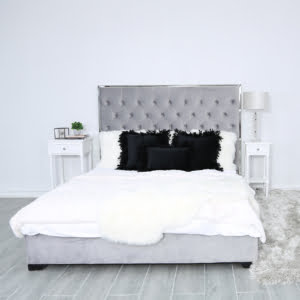 Black Velvet Feather Trim Cushion
