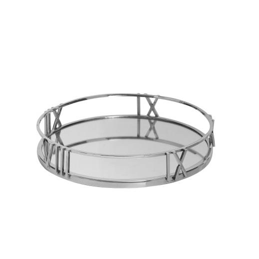 Roman Numeral Mirrored Tray No5a, 30cm Round Mirror Tray
