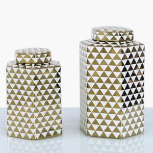 White & Gold Geometric Ginger Jar