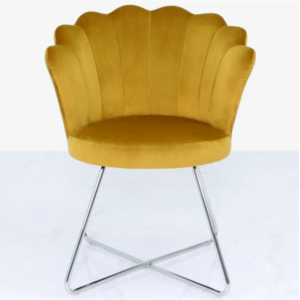 Mustard Yellow Velvet Shell Chair