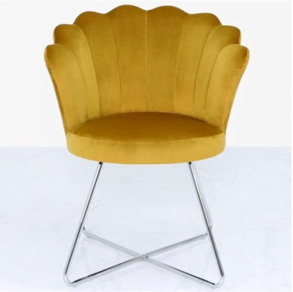 Mustard Yellow Velvet Shell Chair
