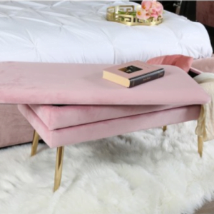 Pink Velvet Storage Ottoman