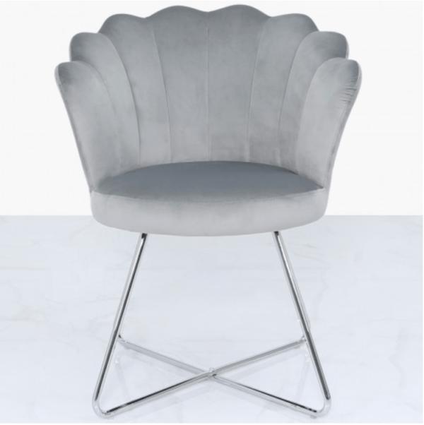 Silver Velvet Shell Chair