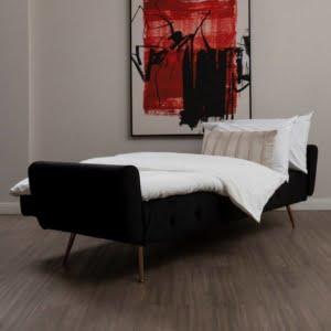 Bijou Black Velvet Sofa Bed