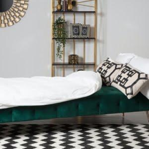 Bijou Green Velvet Sofa Bed