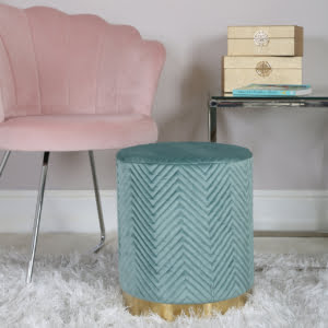 Charlotte Mint Green & Gold Footstool