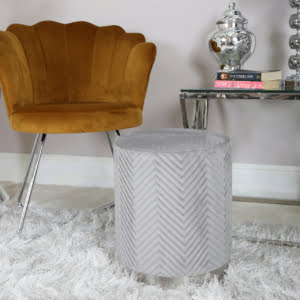 Grey & Chrome Round Footstool
