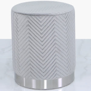 Charlotte Grey & Chrome Footstool