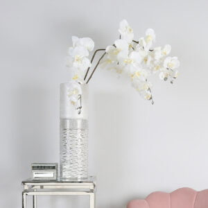 Faux White Orchid with Frost Detailing