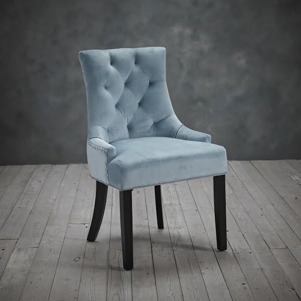 Mila Set of Two Blue Velvet Chairs