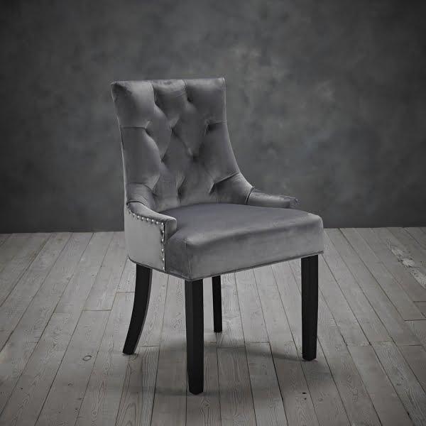 Mila Set of Two Grey Velvet Chairs