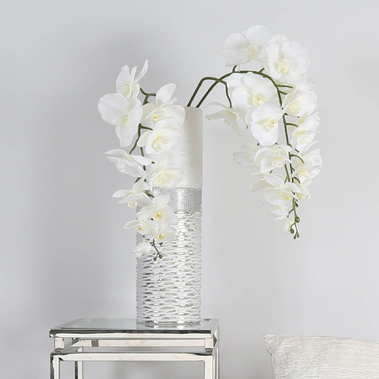 Faux White Orchid Stem