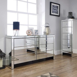 Briana Mirrored 5 Drawer Chest
