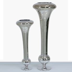 Tall Silver Fluted Vase