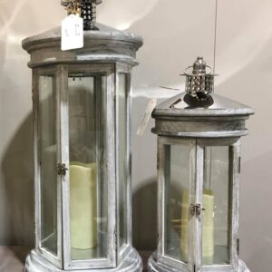 Apollo Grey Wooden Lantern