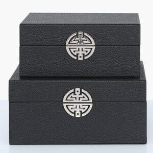 Black Faux Leather Boxes