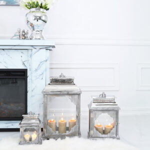 Ciana Grey Wooden Lanterns