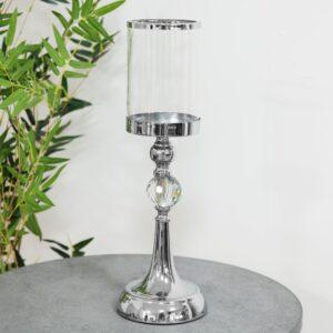 Hemera Tall Chrome & Glass Candle Holder