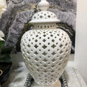 Pierced White Ginger Jar