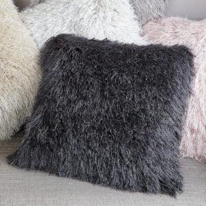 Charcoal Shimmer Fluffy Cushion