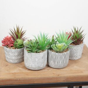 Faux Succulents with Patterned Pots