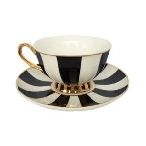 Lily Black & White Stripe Teacup