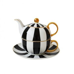 Lily Black & White Tea Set
