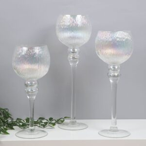 Set of Three Pearl Candle Holders