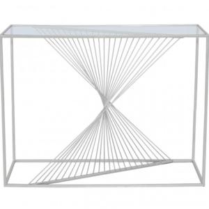 Stellar Silver & Glass Console Table