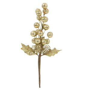 Gold Glitter Berries Pick