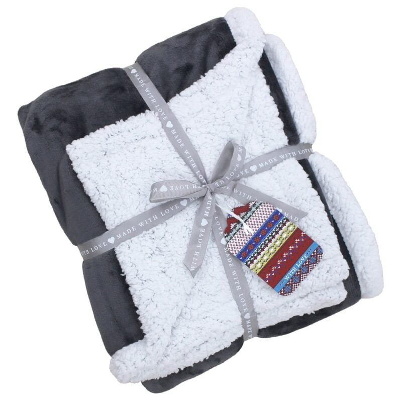 Lux Sherpa Charcoal Fleece Throw
