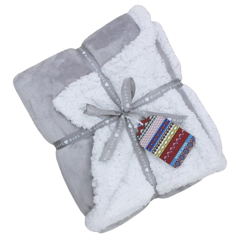 Lux Sherpa Grey Fleece Throw