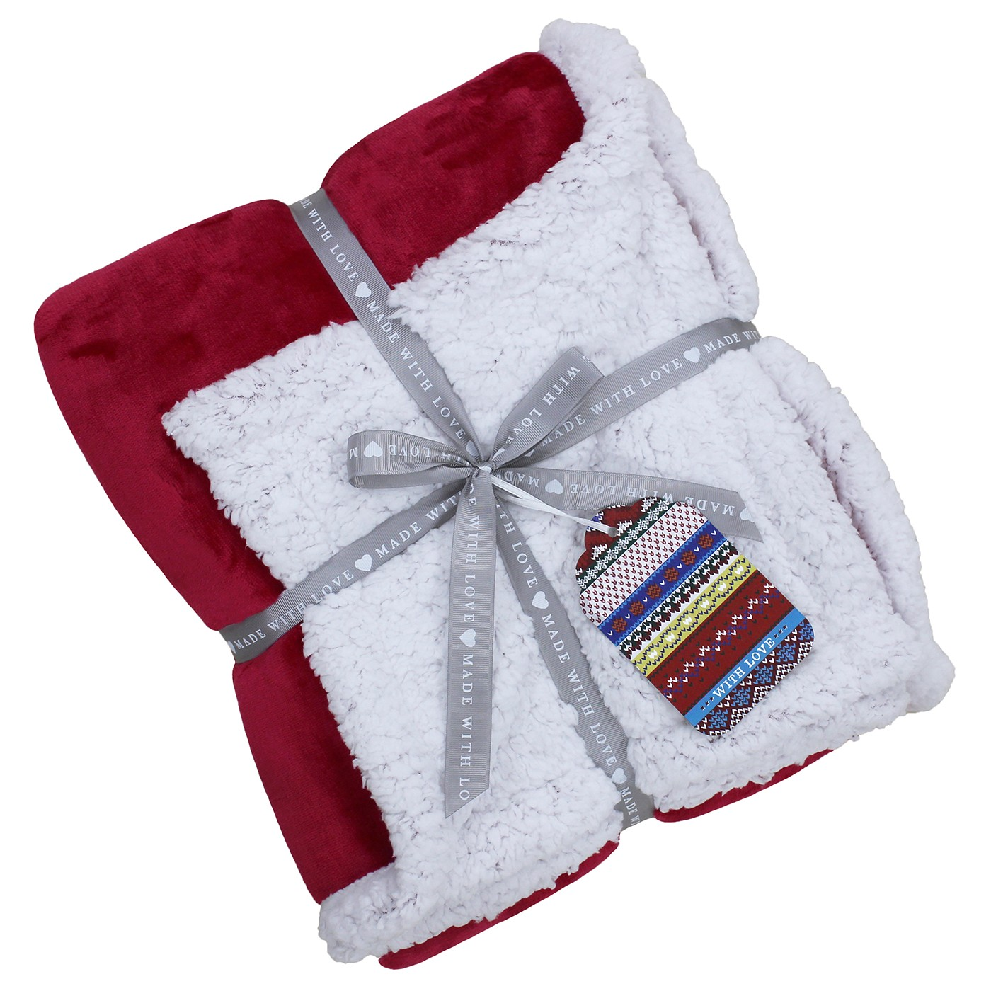 Lux Sherpa Red Fleece Throw