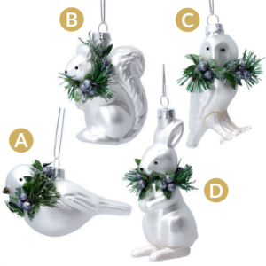 White Glass Animals with Wreath - Choose from 4 Animals!