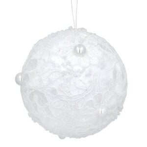 White Lace Bauble with Pearls