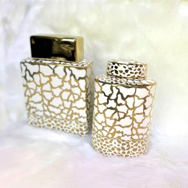 Clark and Cayden White & Gold Jars