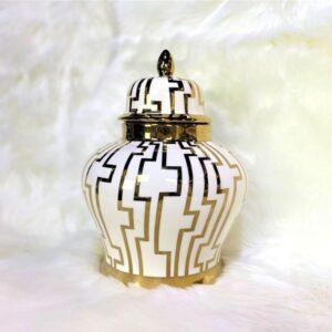 Cairo White & Gold Ginger Jar