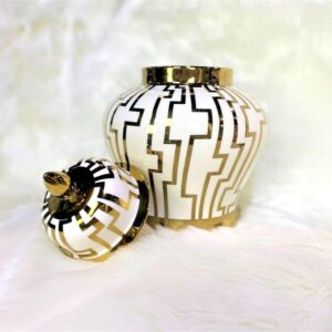 Cairo White & Gold Ginger Jar