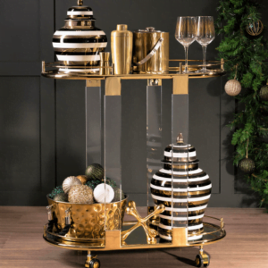 Signature Striped Jars and Drinks Trolley